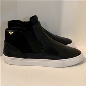 Tory Burch signature black leather sneakers 10